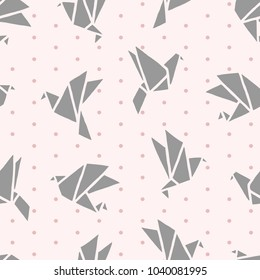 Freehand drawn cartoon paper origami birds made in kid childish style on pink background with polka dots. Vector seamless pattern.