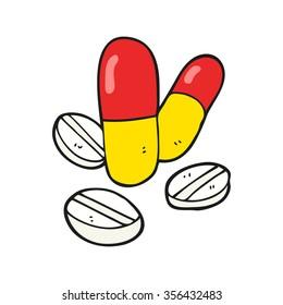 freehand drawn cartoon pills