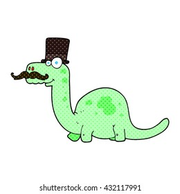 freehand drawn cartoon posh dinosaur