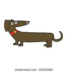 freehand drawn cartoon sausage dog