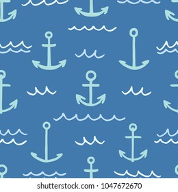 Freehand drawn cartoon sea ocean river ship anchors made in kid childish style on dark blue background. Vector seamless pattern.