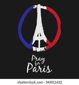 Freehand drawn sketch peace for Paris illustration of pray hands and Eiffel Tower , doodle hand drawn, Peace for Paris, Pray for Paris with France Flag Colors