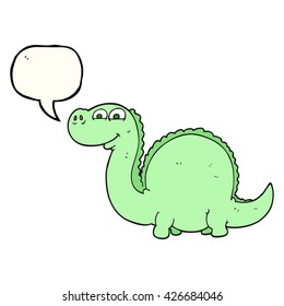 freehand drawn speech bubble cartoon dinosaur