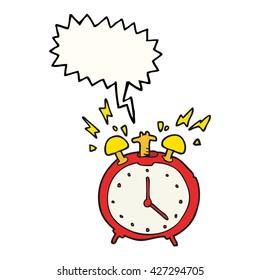 freehand drawn speech bubble cartoon ringing alarm clock
