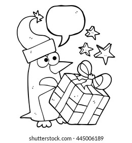 freehand drawn speech bubble cartoon christmas penguin with present