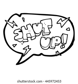 freehand drawn speech bubble cartoon shut up! symbol