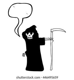 freehand drawn speech bubble cartoon death