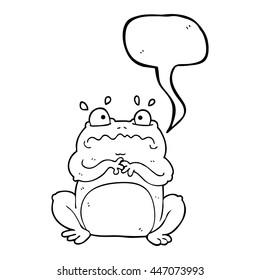freehand drawn speech bubble cartoon funny frog