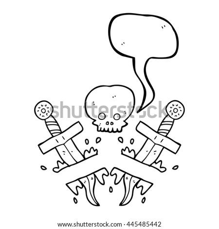 Freehand Drawn Speech Bubble Cartoon Dagger Stock Vector Royalty