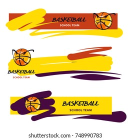 Freehand drawn template logo, banner , poster for basketball school, college team, sport club. Concept image stylized ball. Sketch vector illustration.