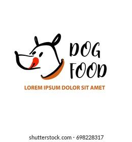 Freehand drawn template logo, icon, banner, poster for business pet shop, store. Sketch image with text dog food.