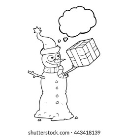 freehand drawn thought bubble cartoon snowman