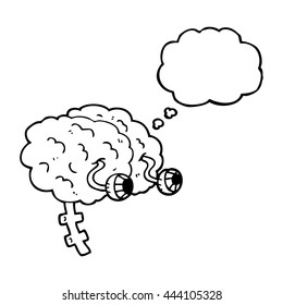 freehand drawn thought bubble cartoon brain