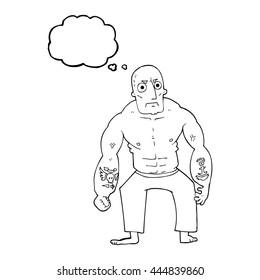 freehand drawn thought bubble cartoon tough man