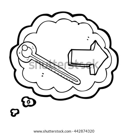 Freehand Drawn Thought Bubble Cartoon Thermometer Stock Vector