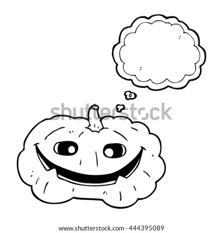Freehand Drawn Thought Bubble Cartoon Pumpkin Stock Vector Royalty