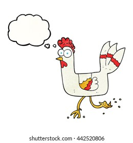 freehand drawn thought bubble textured cartoon chicken running