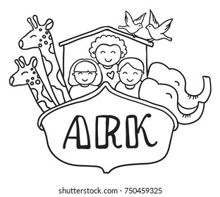 freehand drawn vector illustration. black and white cartoon noah's ark with children and animals