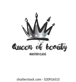 Freehand drawn vector logo for beauty salon, parlor, shop. Master class of makeup. Element of corporate identity, banner, poster and logotype isolated on white background. Image of hand drawn crown.