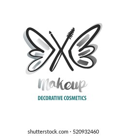 Freehand drawn vector logo for beauty salon, parlor, shop. Master class of make up. Element of corporate identity, logotype on white background. Image of hand drawn butterfly with black makeup brush.