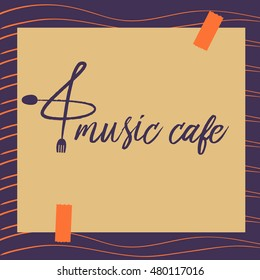 Freehand drawn vector logo music cafe with style line the treble clef . Element of design template for corporate identity, poster, banner, menu of restaurant, bar.