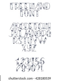 Freehand hand drawn font with english letters from a to z, numbers from 0 to 9. Alphabet sequence drawn with dots, strokes and lines in freehand style. Vector isolated illustration, isolated on white
