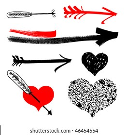 Freehand hearts and arrows design elements