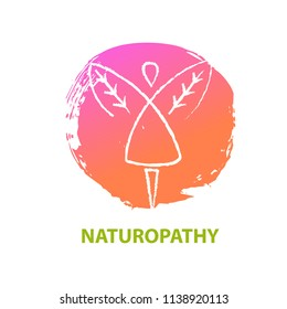 Freehand line drawn silhouette abstract girl. Concept logo, badge, insignia for naturopathy, phytotherapy, holistic, alternative medicine and pharmacy.