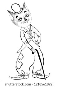 Freehand outline vector drawn funny cartoon cat-tramp looks like Charlie Chaplin.