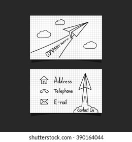 freehand paper plane business card
