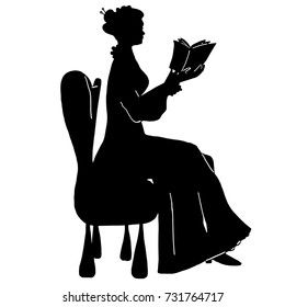 Freehand reading woman silhouette. Vintage sitting female silhouette in victorian style. Antique dress, lace, curly hair, hair pins, book, armchair. For posters, prints, design, covers, logos, shop.
