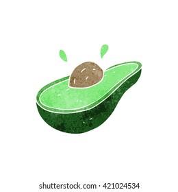 freehand retro cartoon avocado