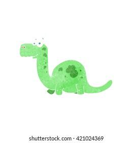 freehand retro cartoon dinosaur