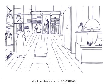 Freehand sketch of apparel shop interior with counter, hanging racks, furnishings, mannequin dressed in stylish clothes. Hand drawn fashion store or trendy boutique. Monochrome vector illustration.