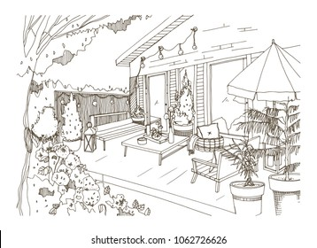 Freehand sketch of backyard patio or terrace furnished in Scandic hygge style. House veranda with trendy modern furniture hand drawn with contour lines on white background. Vector illustration.