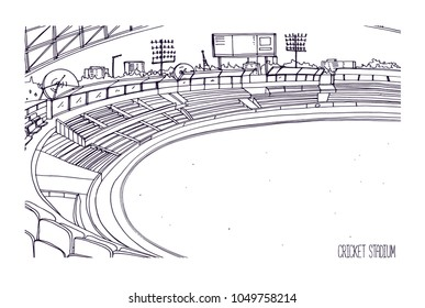 Freehand sketch of cricket stadium with rows of seats, electronic scoreboard and grassy field or lawn. Sports arena for British team bat-and-ball game. Monochrome hand drawn vector illustration