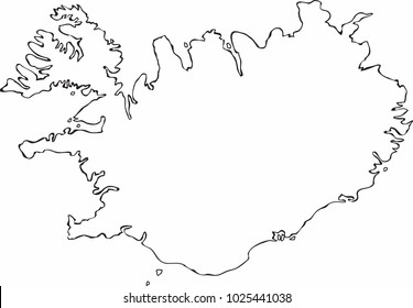 Freehand sketch Iceland map on white background. Vector illustration.