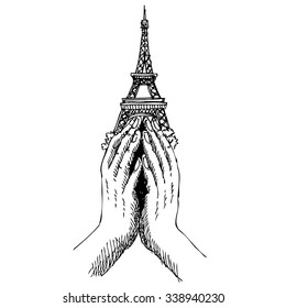 Freehand sketch  illustration of pray hands and  Eiffel Tower ,Paris on white background, doodle hand drawn, Peace for Paris , Pray for Paris