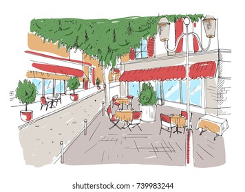 Freehand sketch of outdoor cafe or restaurant with tables covered with tableclothes and chairs standing on city street under large tree beside building. Colorful hand drawn vector illustration.