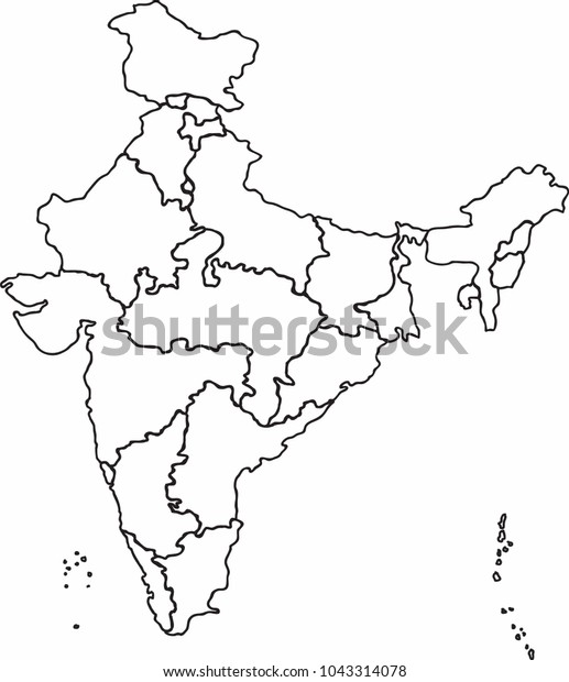 India Map Sketch Freehand Sketch Outline India Map Vector Stock Vector (Royalty