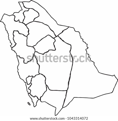 Freehand Sketch Outline Saudi Arabia Map Stock Vector Royalty Free