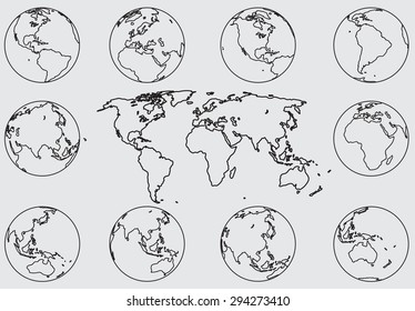 Freehand sketch rotated world map in various angles. Vector illustration. EPS 10.