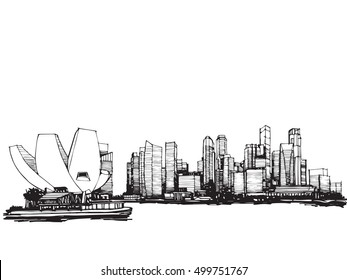 Freehand sketch vector panoramic Singapore city  Freehand Drawing,