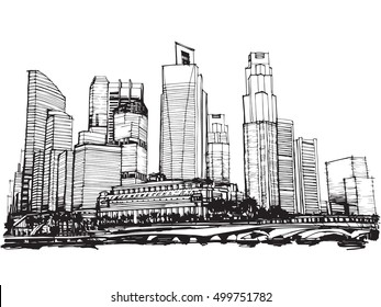Freehand sketch vector panoramic Singapore city sketch   Freehand Drawing
