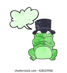 freehand speech bubble textured cartoon frog in top hat