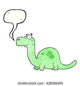 freehand speech bubble textured cartoon dinosaur