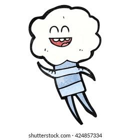 freehand textured cartoon cute cloud head creature