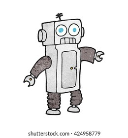 freehand textured cartoon robot