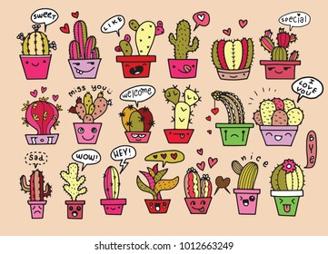Freehand vector drawing ,Cute hand drawn vector cactus in the funny face pots speech bubbles with dialog words ,Vector illustration