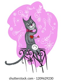 Freehand vector drawn funny cartoon black cat-tramp sitting on a fence with the skeleton of a fish on his fork, isolated on a pink background.